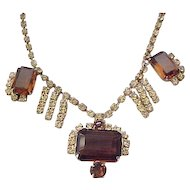 Elegant Topaz and Citrine Rhinestone Necklace