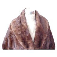 Deep Brown Mink Stole - Size Small/Medium