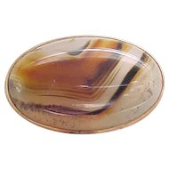 Superb Victorian/Edwardian Agate Brooch - 10K Gold