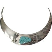 Exceptional Zuni Sterling and Turquoise Necklace - Lloyd Tsalabutie