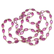 Hot Pink Crystal Necklace - Open Backed and Unfoiled