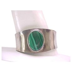 Impressive Sterling and Malachite Cuff Bracelet