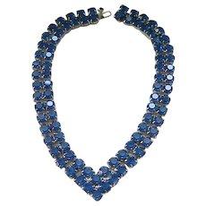 Extraordinary Deep Blue Rhinestone Necklace