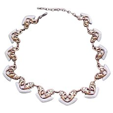 04 - Matisse White Enamel and Copper Necklace