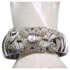 Glitzy Glamorous Expansion Bracelet Huge Rhinestone Center - Must See