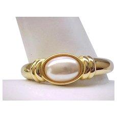 05 - Elegant Napier Clamper Bracelet with Large Center Faux Pearl