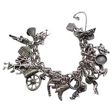 Fab Southwest Theme Sterling Charm Bracelet - 25 Charms - 92 grams