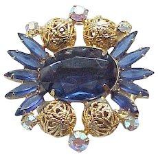Impeccable Juliana Sapphire Blue Rhinestones, Filigree Beads - 1962