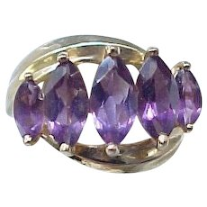 10K Gold and Amethyst Ring - Size 6 1/2 - Superb