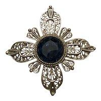 Silvertone Filigree Maltese Cross Pin - Sapphire Blue Rhinestone