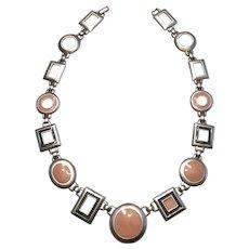 Kunio Matsumoto Mod Pink, Black, Silvertone Necklace
