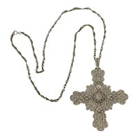 Trifari Filigree Cross and Chain Silvertone