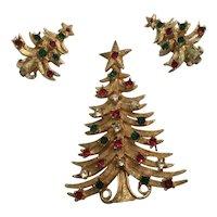 Classic Mylu Christmas Tree Pin and Earrings