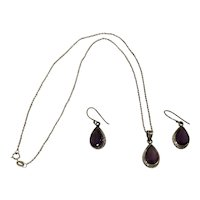 Pretty Sterling and Amethyst Pendant on Chain and Earrings