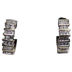 Gorgeous Round and Bagette Diamond Huggie Earrings 1CTW