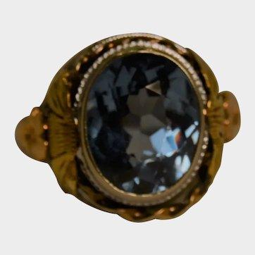 London Blue Topaz 2 Tone Ring Size 6 1/2