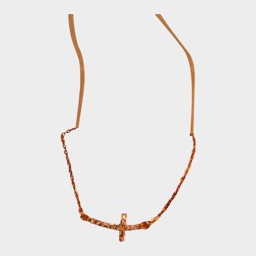 14 K Delicate Sideways Cross Pendant