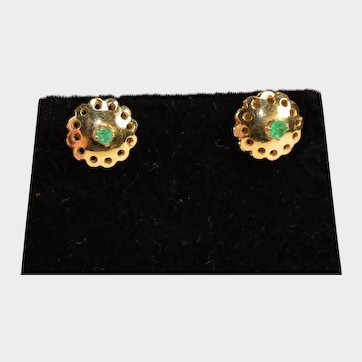 Vintage Emerald Earrings in 14K Yellow Gold.