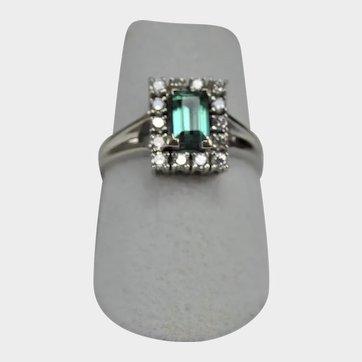 Halo Diamond and Green Tourmaline 14K Size 6 Ring
