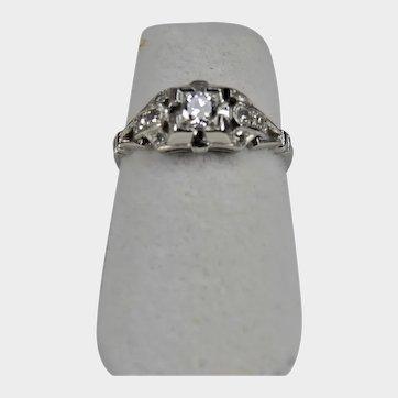 Vintage Platinum Diamond Ring Size 5 3/4