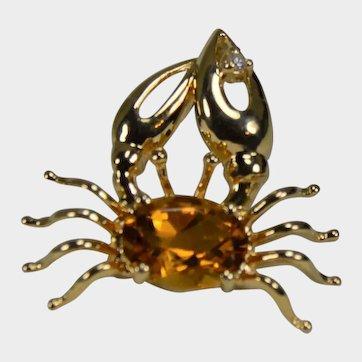 Unique Citrine and Diamond Crab Pendant 14K