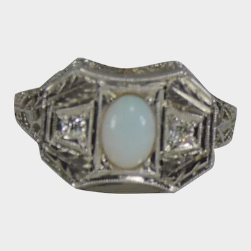 Vintage Opal and Diamond Scroll Design Ring White Gold Size 5 1/2