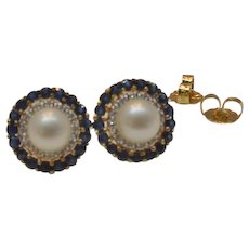 Vintage Cultured Pearl Diamond and Blue Sapphire Earrings