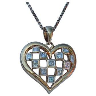 Asscher Cut Diamond Heart Pendant, 18Kt YG