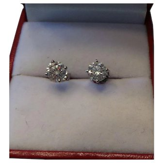Estate Diamond Earrings 1 CTW.  14KT White Gold