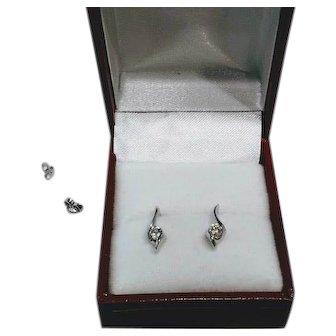 Estate .25 CTW Diamond 14 KT White Gold Post Earrings