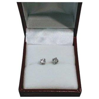.50 CTW Diamond Post Earrings in 14KT White Gold