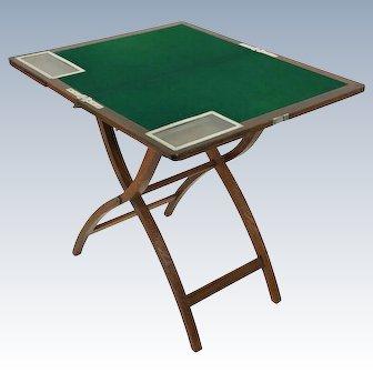 Edwardian Oak and Chrome Folding Games Table by Asprey