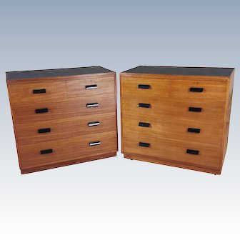 Pair of Early 20th C. Teak Chest of Drawers with Faux Shagreen Inset Tops
