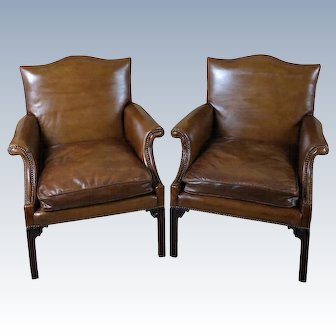 Fine Pair of Georgian Style Carved Mahogany Framed Armchairs