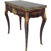 19th C. French Marquetry Fold-Over Card Table