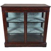 Mid-19th C. Biedermeier Flame Mahogany 2 Door Cabinet Glass Cabinet