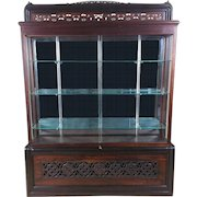 Scottish Carved and Pierced Solid Rosewood and Teak Display Cabinet