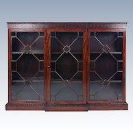 Victorian Figured Mahogany Breakfront Astragal Glazed 3 Door Bookcase