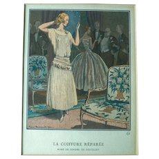 """La Gazette du Bon Ton French 1921 Fashion Print """"La Coiffure Reparee"""""""
