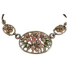 1940s Enameled Rhinestone Paved Flowers Necklace!