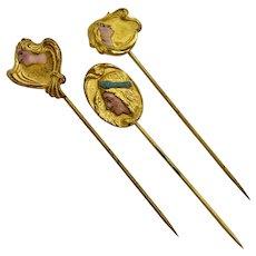 Art Nouveau Enamel Mucha Ladies Stick Pins