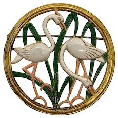 Enameled Flamingos Birds Stamped Brass Pin Brooch