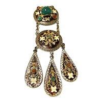 Czech Style Three-Tiered Dangling Pin / Brooch!