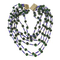 Epic Cobalt Blue and Emerald Green Beads Galore! What a Necklace!