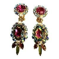 Renowned Juliana D & E Watermelon Tourmaline Dangly Clip Earrings!