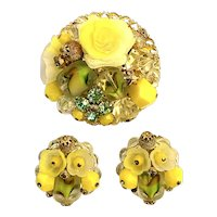 Promise of Spring WEST GERMANY Yellow Roses Art Glass Pin / Brooch and Earrings!