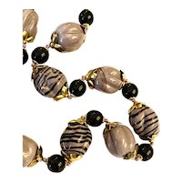 Versatile Grape and Black Chunky Glass Beads!