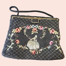 Exquisite French France Beaded and Embroidered Purse!