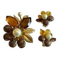 EISENBERG Art Glass Rhinestone Brooch Pin and Earrings!