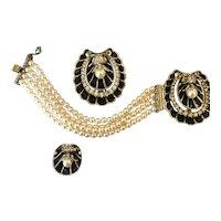 Fantastic RALPH DeROSA Sterling Silver 1940s Bracelet, Fur Clip, and Earrings!